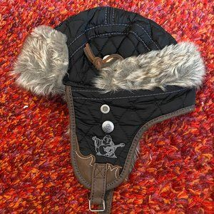 TRUE RELIGION MEN FAUX FUR LEATHER HAT SIZE LARGE